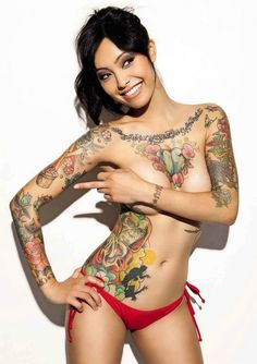Chest naked lady tattoo